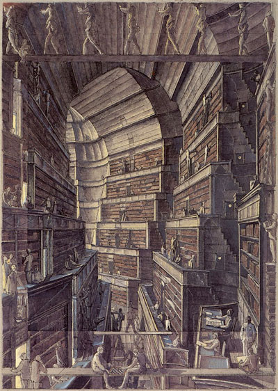 An illustration of the Library of Babel by Erik Desmazieres. Veritiginous shelves surround a central chasm, while librarians carry each other piggy-back across wooden planks.