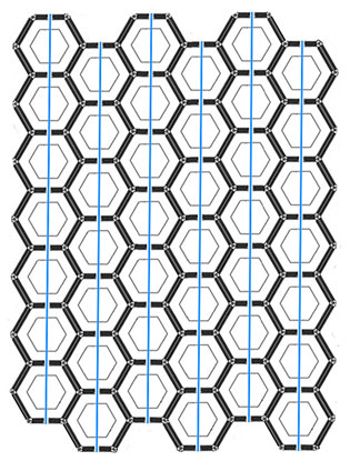 a grid of hexagons. A series of parallel paths passes through them vertically.
